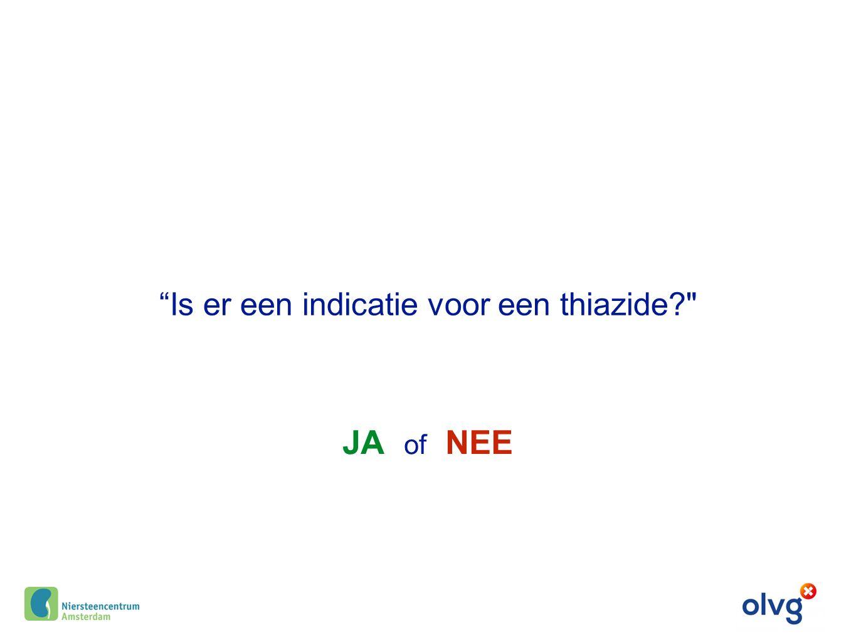 """JA of NEE """"Is er een indicatie voor een thiazide?"""