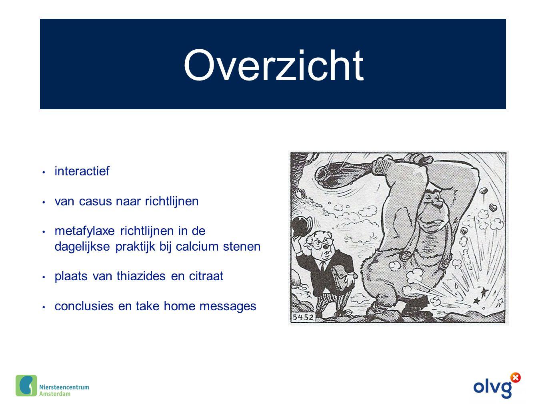 Vocht AUA Guideline Medical management of kidney stones 2014: Verdunnen helpt! (Level B evidence)