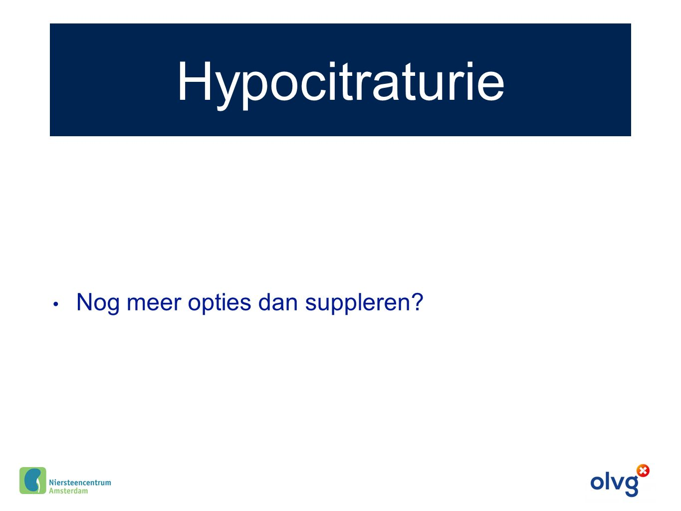 Hypocitraturie Nog meer opties dan suppleren?