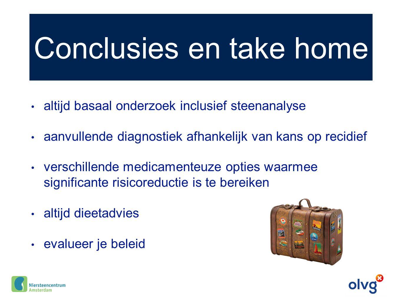Conclusies en take home altijd basaal onderzoek inclusief steenanalyse aanvullende diagnostiek afhankelijk van kans op recidief verschillende medicame
