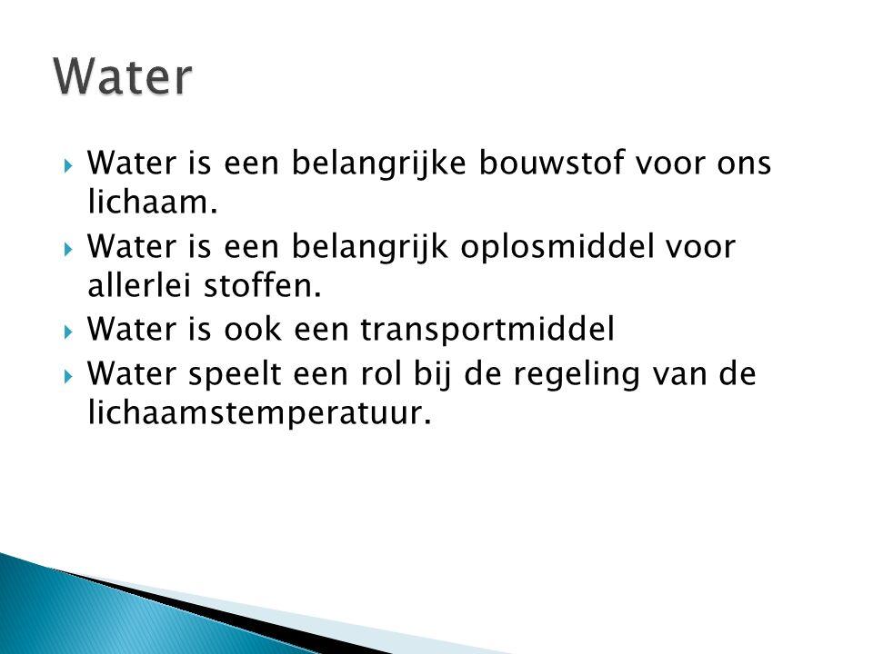  Water is een belangrijke bouwstof voor ons lichaam.
