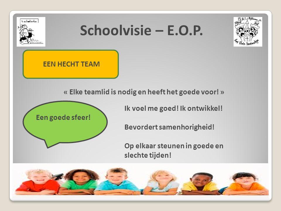 Schoolvisie – E.O.P. EEN HECHT TEAM « Elke teamlid is nodig en heeft het goede voor! » Een goede sfeer! Ik voel me goed! Ik ontwikkel! Bevordert samen