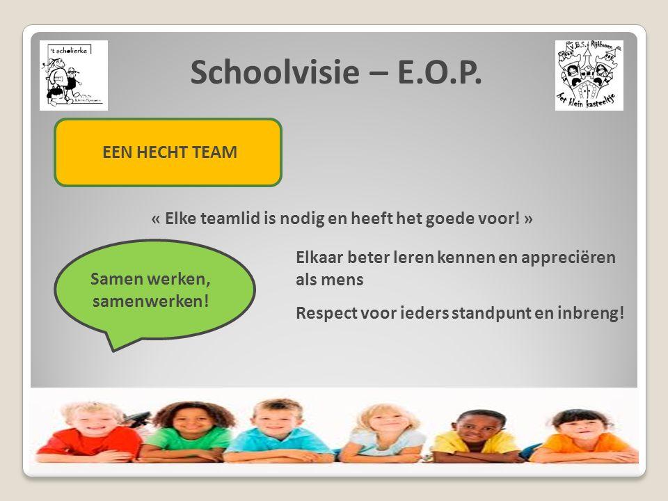 Schoolvisie – E.O.P. EEN HECHT TEAM « Elke teamlid is nodig en heeft het goede voor! » Samen werken, samenwerken! Elkaar beter leren kennen en appreci