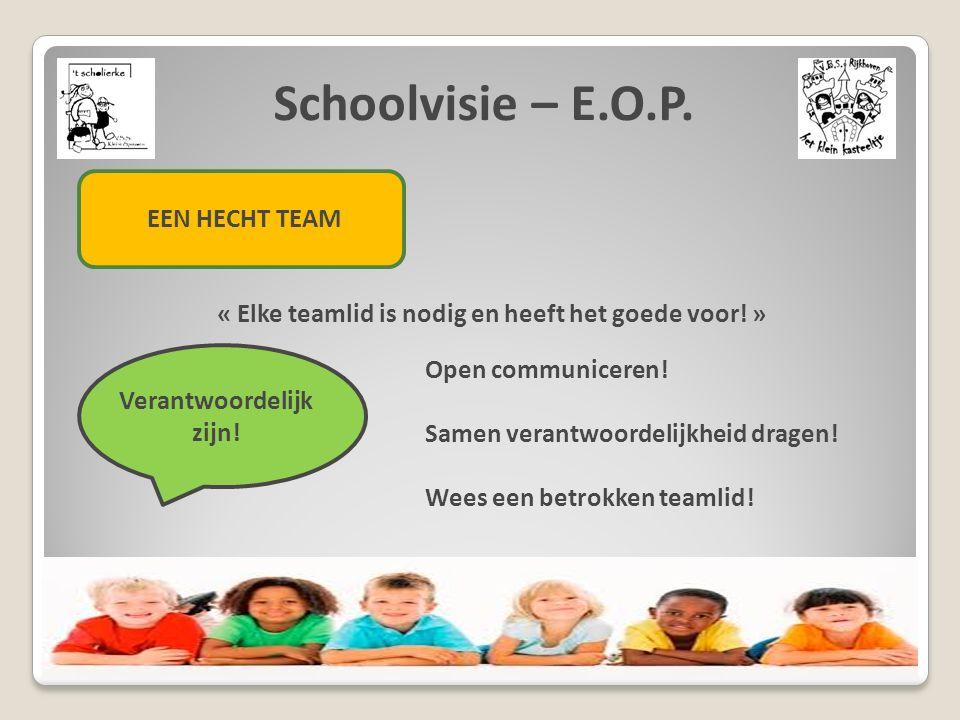 Schoolvisie – E.O.P. EEN HECHT TEAM « Elke teamlid is nodig en heeft het goede voor! » Verantwoordelijk zijn! Open communiceren! Samen verantwoordelij