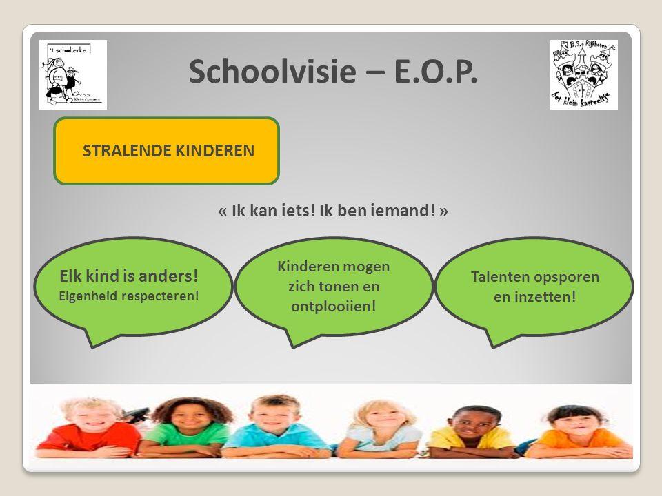 Schoolvisie – E.O.P. STRALENDE KINDEREN « Ik kan iets! Ik ben iemand! » Elk kind is anders! Eigenheid respecteren! Kinderen mogen zich tonen en ontplo