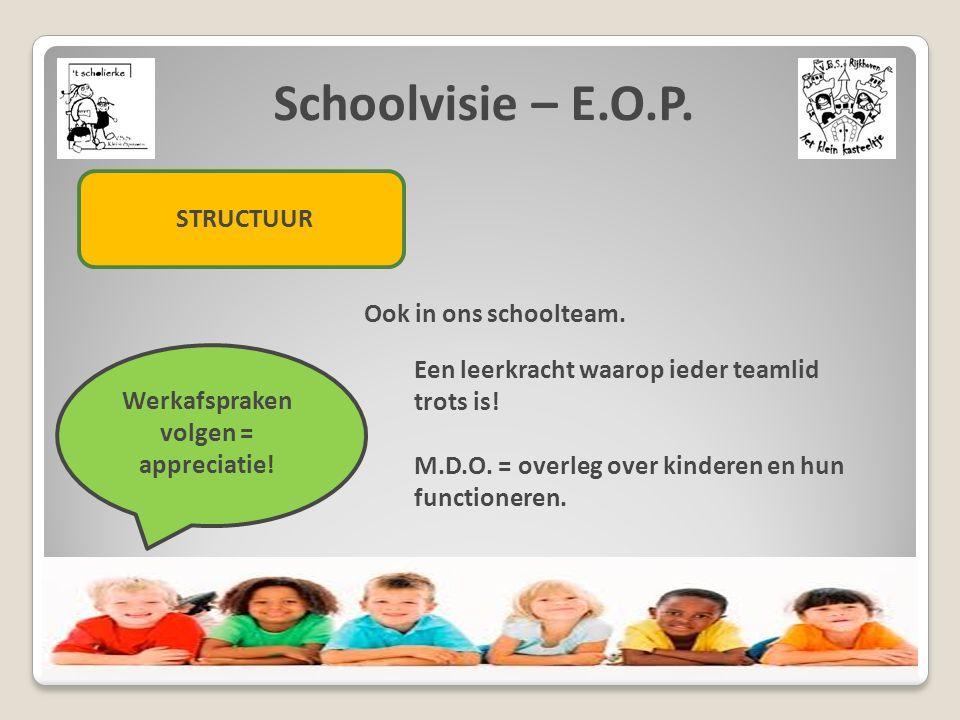 Schoolvisie – E.O.P. STRUCTUUR Ook in ons schoolteam. Werkafspraken volgen = appreciatie! Een leerkracht waarop ieder teamlid trots is! M.D.O. = overl