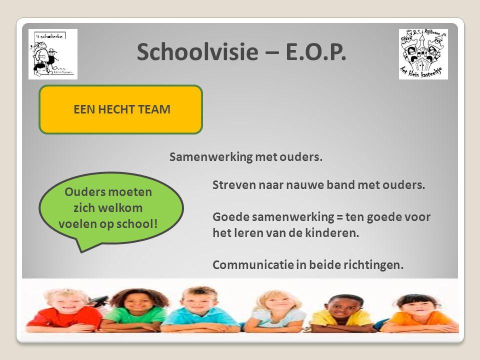 Schoolvisie – E.O.P. EEN HECHT TEAM Samenwerking met ouders. Ouders moeten zich welkom voelen op school! Streven naar nauwe band met ouders. Goede sam