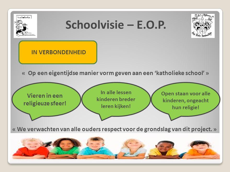 Schoolvisie – E.O.P. IN VERBONDENHEID « Op een eigentijdse manier vorm geven aan een 'katholieke school' » Vieren in een religieuze sfeer! In alle les