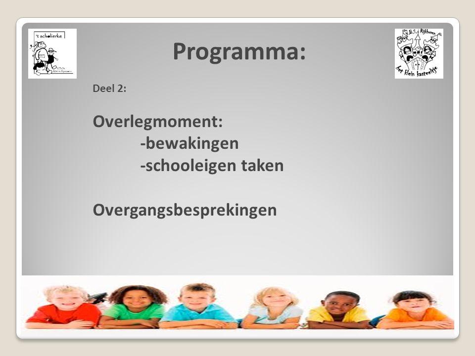 Deel 2: Overlegmoment: -bewakingen -schooleigen taken Overgangsbesprekingen Programma: