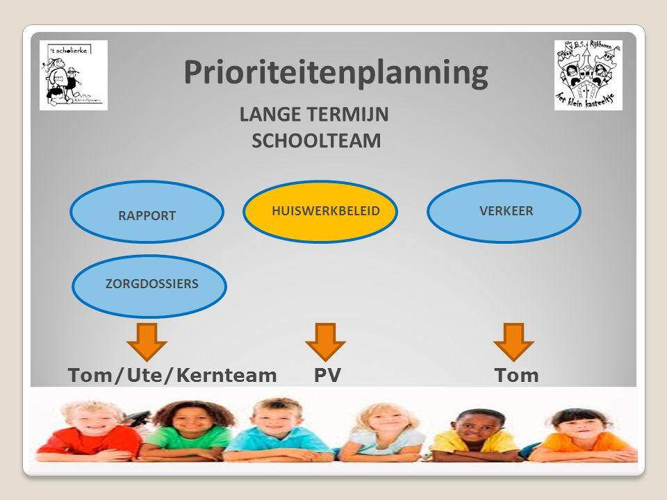 Prioriteitenplanning LANGE TERMIJN SCHOOLTEAM RAPPORT ZORGDOSSIERS HUISWERKBELEIDVERKEER Tom/Ute/Kernteam PV Tom