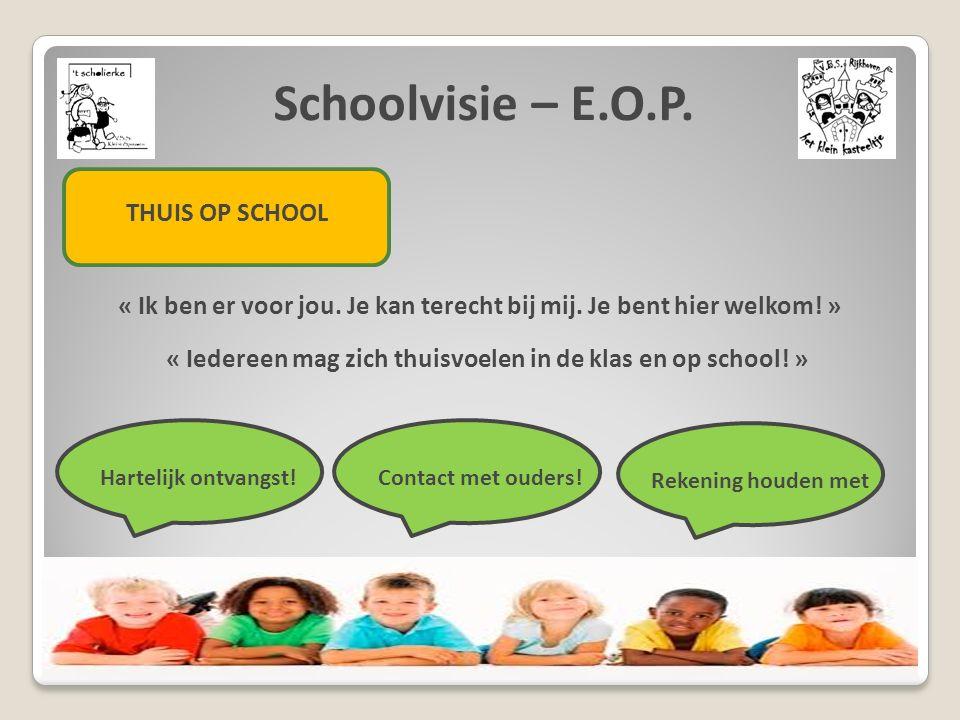 Schoolvisie – E.O.P. THUIS OP SCHOOL « Ik ben er voor jou. Je kan terecht bij mij. Je bent hier welkom! » « Iedereen mag zich thuisvoelen in de klas e