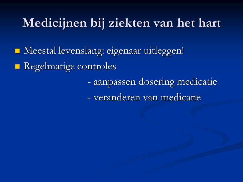 Medicijnen bij ziekten van het hart Meestal levenslang: eigenaar uitleggen! Meestal levenslang: eigenaar uitleggen! Regelmatige controles Regelmatige