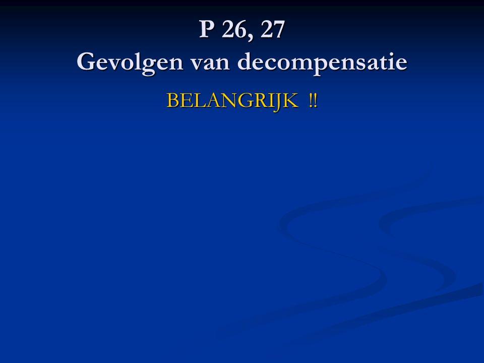 P 26, 27 Gevolgen van decompensatie BELANGRIJK !!