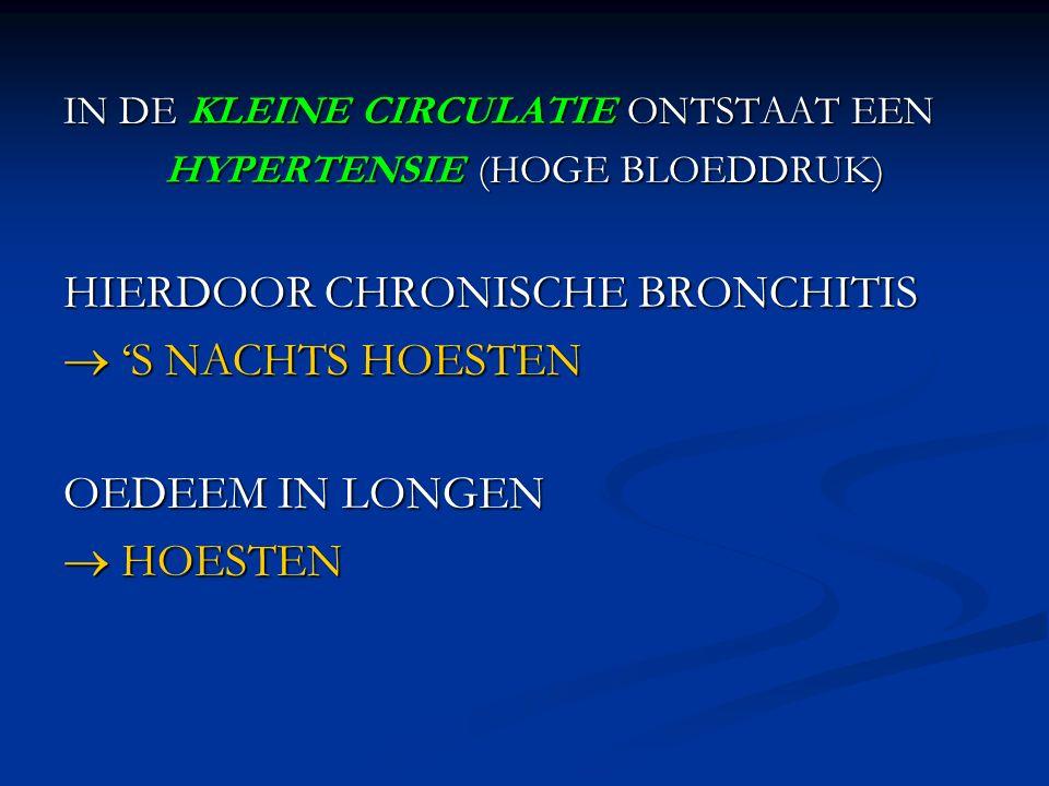 IN DE KLEINE CIRCULATIE ONTSTAAT EEN HYPERTENSIE (HOGE BLOEDDRUK) HIERDOOR CHRONISCHE BRONCHITIS  'S NACHTS HOESTEN OEDEEM IN LONGEN  HOESTEN