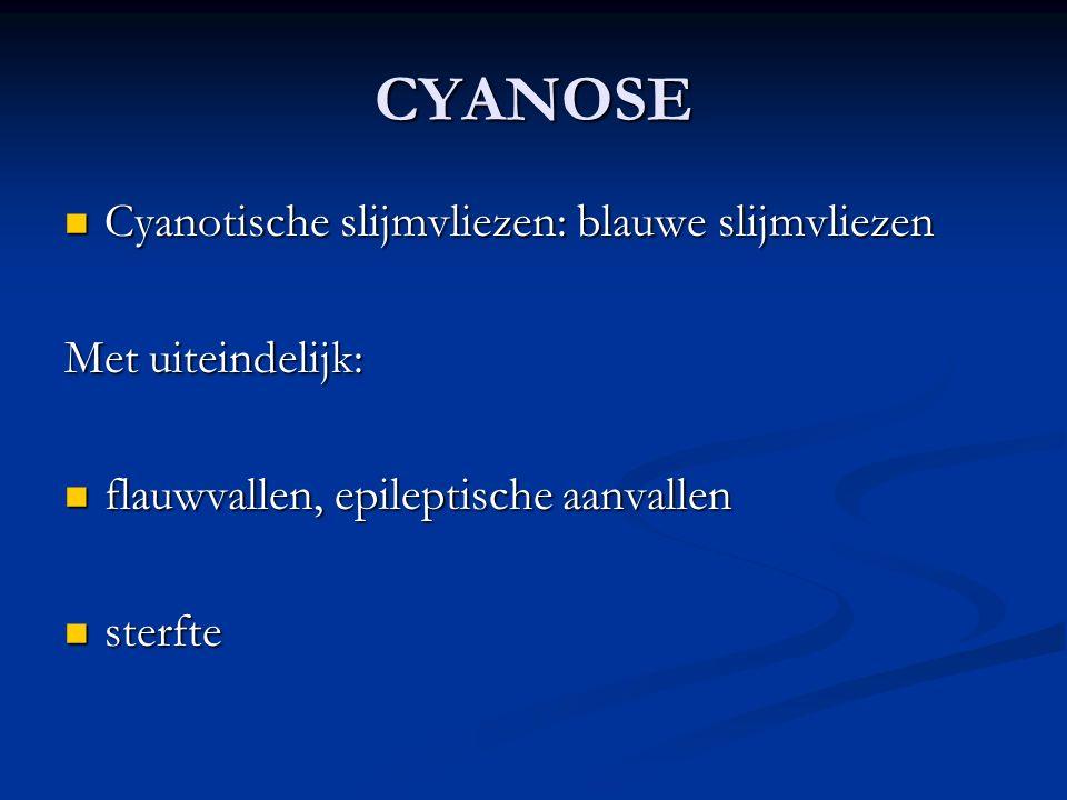 CYANOSE Cyanotische slijmvliezen: blauwe slijmvliezen Cyanotische slijmvliezen: blauwe slijmvliezen Met uiteindelijk: flauwvallen, epileptische aanval