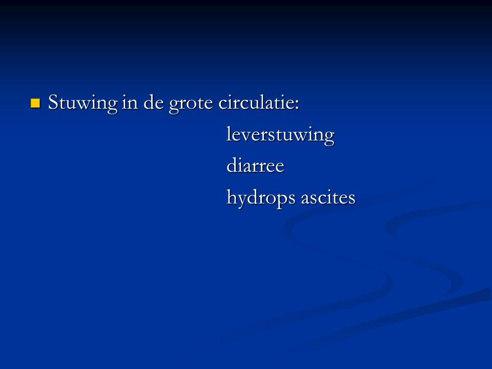 Stuwing in de grote circulatie: Stuwing in de grote circulatie:leverstuwingdiarree hydrops ascites