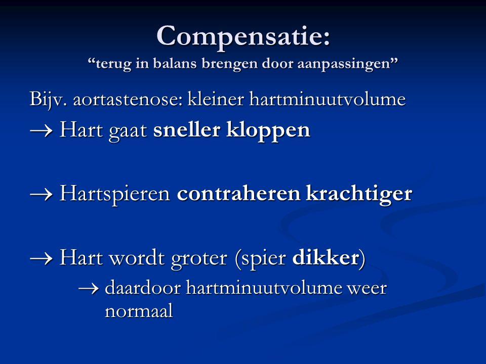 """Compensatie: """"terug in balans brengen door aanpassingen"""" Bijv. aortastenose: kleiner hartminuutvolume  Hart gaat sneller kloppen  Hartspieren contra"""