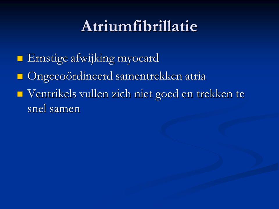Atriumfibrillatie Ernstige afwijking myocard Ernstige afwijking myocard Ongecoördineerd samentrekken atria Ongecoördineerd samentrekken atria Ventrike