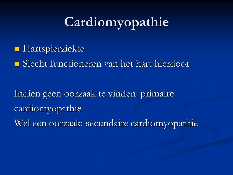 Cardiomyopathie Hartspierziekte Hartspierziekte Slecht functioneren van het hart hierdoor Slecht functioneren van het hart hierdoor Indien geen oorzaa