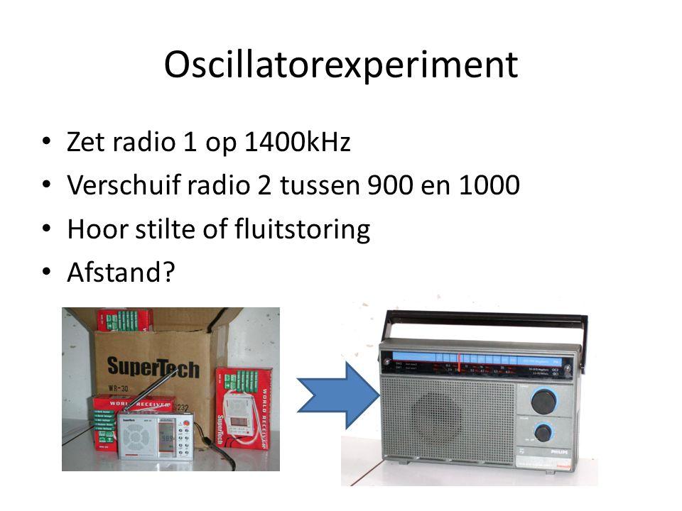 Productregel voor cos cos(a)cos(b) = ½(cos (a+b) + cos (a-b)) Vul in a is l, b is r: verkrijg cos(l+r) en cos(l-r) MF: m is (doorgaans) 452 tot 468kHz De oscillator staat altijd 452 hoger dan r dus l = r+m (lager kan ook) Zodat l-r = m Oscillator straalt uit, kun je horen
