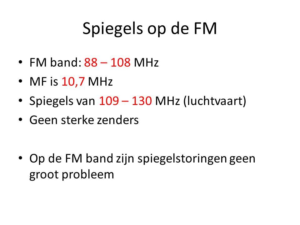 Spiegels op de Middengolf Omroepzenders zijn (zeer) sterk en nabij Hier is r = 530 – 1600 kHz Dan is s = 1430 – 2500 kHz Boven 1600 zijn nauwelijks st