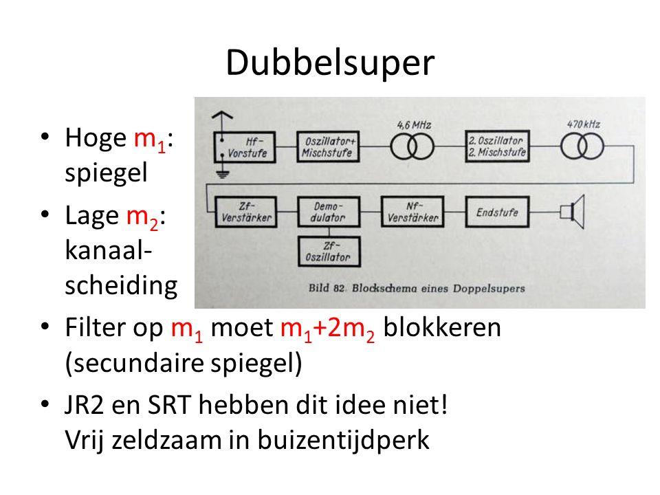 De keuze van MF cf JR2 Lage MF: makkelijker selectieve cascade Hoge MF: betere spiegelonderdrukking MF = 50x bandbreedte – AM: breedte 9kHz, MF 455kHz