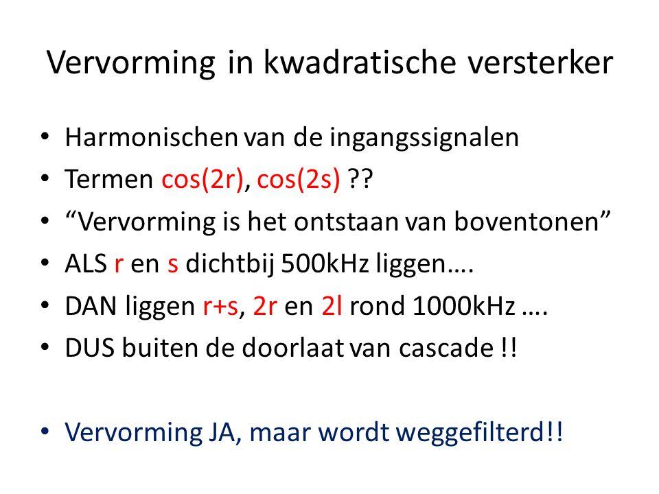 Menging in Kwadratische Versterker y = Ax + Bx 2 en x = cos(r) + cos(s) y = A(cos(r) + cos(s)) + B (cos(r) + cos(s)) 2 A cos(r) + A cos(s) + B cos 2 (r) + B cos 2 (s) + 2B cos(r) cos(s) Laatste term: B (cos(r+s) + cos (r-s)) !.