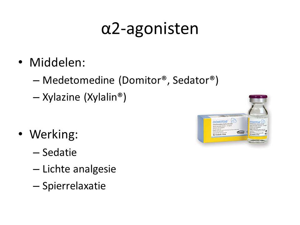 α2-agonisten Middelen: – Medetomedine (Domitor®, Sedator®) – Xylazine (Xylalin®) Werking: – Sedatie – Lichte analgesie – Spierrelaxatie