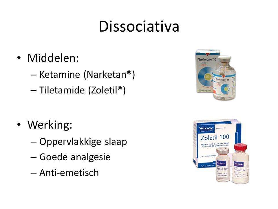 Dissociativa Middelen: – Ketamine (Narketan®) – Tiletamide (Zoletil®) Werking: – Oppervlakkige slaap – Goede analgesie – Anti-emetisch