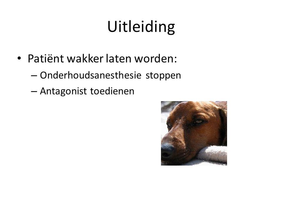 Uitleiding Patiënt wakker laten worden: – Onderhoudsanesthesie stoppen – Antagonist toedienen