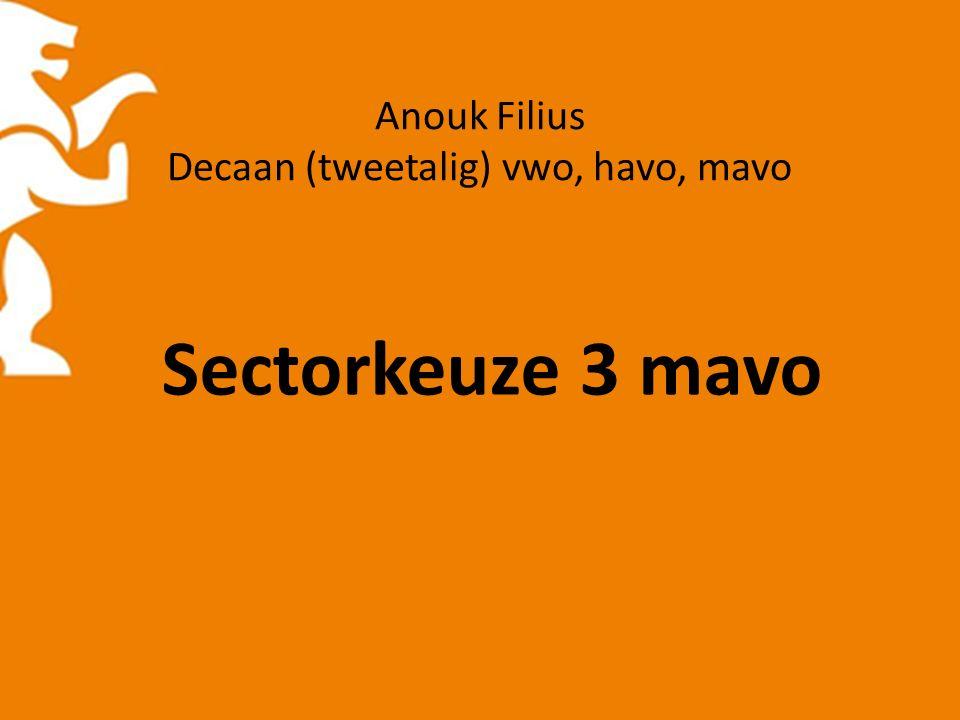 Anouk Filius Decaan (tweetalig) vwo, havo, mavo Sectorkeuze 3 mavo