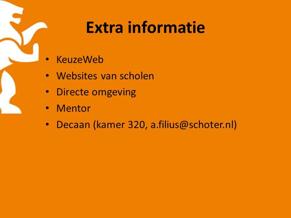 Extra informatie KeuzeWeb Websites van scholen Directe omgeving Mentor Decaan (kamer 320, a.filius@schoter.nl)