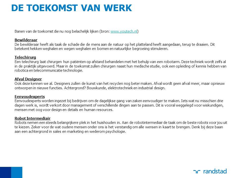 DE TOEKOMST VAN WERK Banen van de toekomst die nu nog belachelijk lijken (bron: www.youtech.nl)www.youtech.nl Bewilderaar De bewilderaar heeft als taa