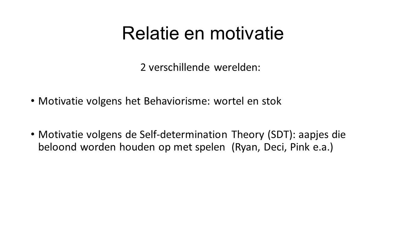 Relatie en motivatie 2 verschillende werelden: Motivatie volgens het Behaviorisme: wortel en stok Motivatie volgens de Self-determination Theory (SDT): aapjes die beloond worden houden op met spelen (Ryan, Deci, Pink e.a.)