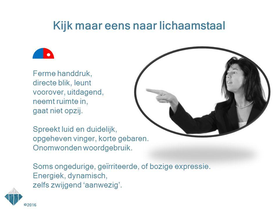 Ferme handdruk, directe blik, leunt voorover, uitdagend, neemt ruimte in, gaat niet opzij. Spreekt luid en duidelijk, opgeheven vinger, korte gebaren.