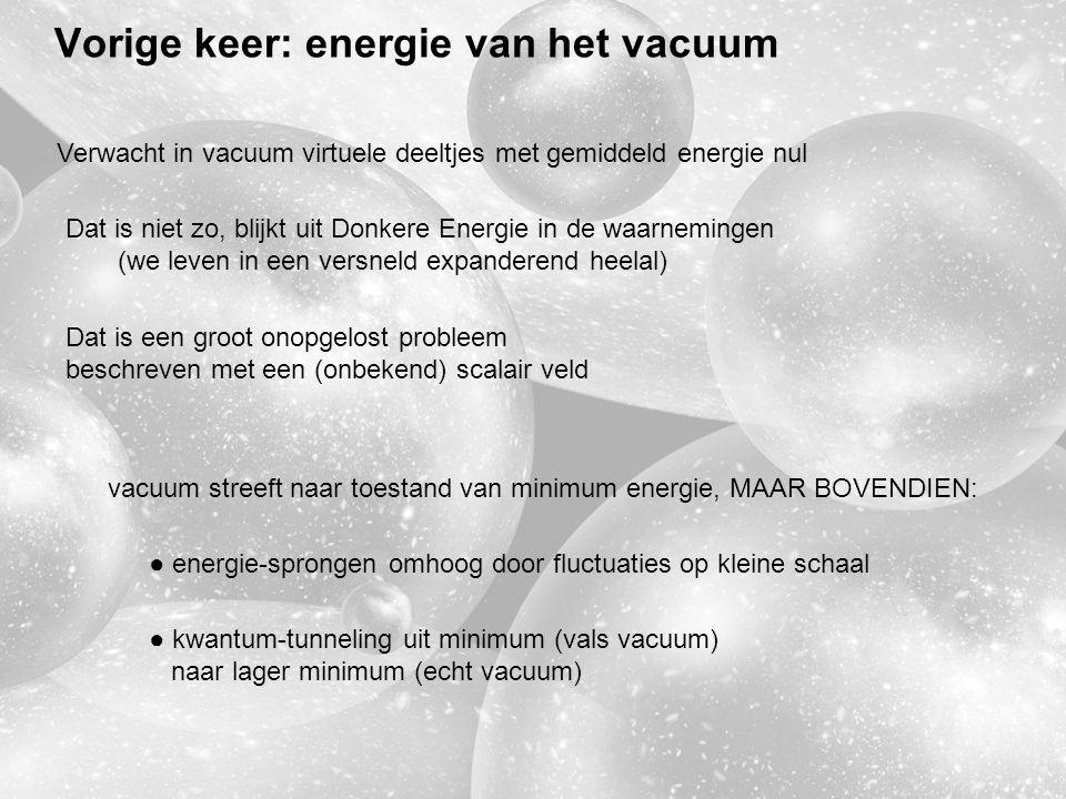 Vorige keer: energie van het vacuum Verwacht in vacuum virtuele deeltjes met gemiddeld energie nul Dat is niet zo, blijkt uit Donkere Energie in de waarnemingen (we leven in een versneld expanderend heelal) Dat is een groot onopgelost probleem beschreven met een (onbekend) scalair veld vacuum streeft naar toestand van minimum energie, MAAR BOVENDIEN: ● energie-sprongen omhoog door fluctuaties op kleine schaal ● kwantum-tunneling uit minimum (vals vacuum) naar lager minimum (echt vacuum)
