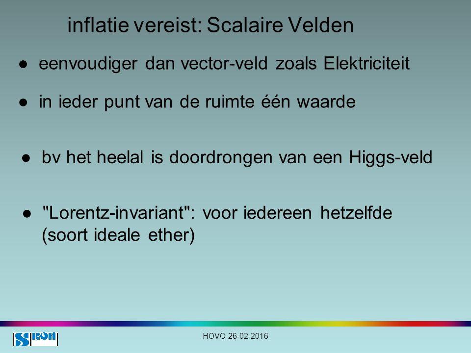 inflatie vereist: Scalaire Velden ● eenvoudiger dan vector-veld zoals Elektriciteit ● in ieder punt van de ruimte één waarde ● bv het heelal is doordrongen van een Higgs-veld ● Lorentz-invariant : voor iedereen hetzelfde (soort ideale ether) HOVO 26-02-2016