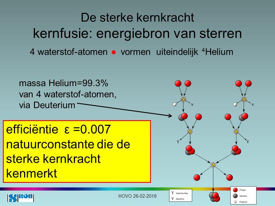 De sterke kernkracht kernfusie: energiebron van sterren HOVO 26-02-2016 4 waterstof-atomen ● vormen uiteindelijk 4 Helium efficiëntie ε =0.007 natuurconstante die de sterke kernkracht kenmerkt massa Helium=99.3% van 4 waterstof-atomen, via Deuterium