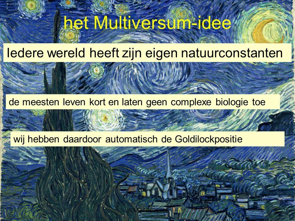 het Multiversum-idee HOVO 26-02-2016 Iedere wereld heeft zijn eigen natuurconstanten de meesten leven kort en laten geen complexe biologie toe wij hebben daardoor automatisch de Goldilockpositie
