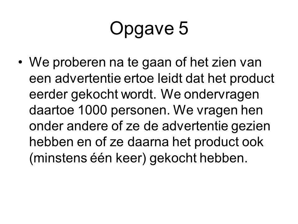 Opgave 5 We proberen na te gaan of het zien van een advertentie ertoe leidt dat het product eerder gekocht wordt. We ondervragen daartoe 1000 personen
