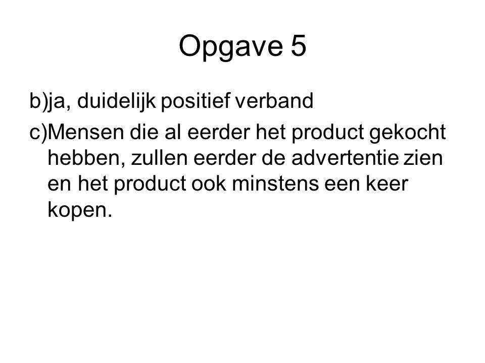 Opgave 5 b)ja, duidelijk positief verband c)Mensen die al eerder het product gekocht hebben, zullen eerder de advertentie zien en het product ook mins