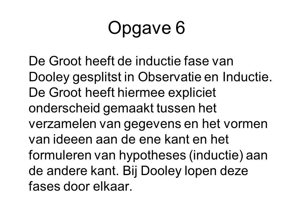 Opgave 6 De Groot heeft de inductie fase van Dooley gesplitst in Observatie en Inductie. De Groot heeft hiermee expliciet onderscheid gemaakt tussen h