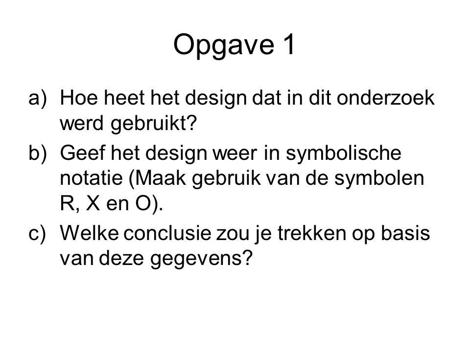 Opgave 1 a)Hoe heet het design dat in dit onderzoek werd gebruikt? b)Geef het design weer in symbolische notatie (Maak gebruik van de symbolen R, X en