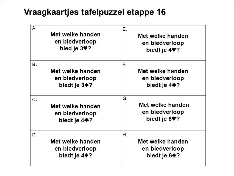 2e16 19 Vraagkaartjes tafelpuzzel etappe 16 A. Met welke handen en biedverloop bied je 3 ♥ ? E. Met welke handen en biedverloop biedt je 4 ♥ ? B. Met