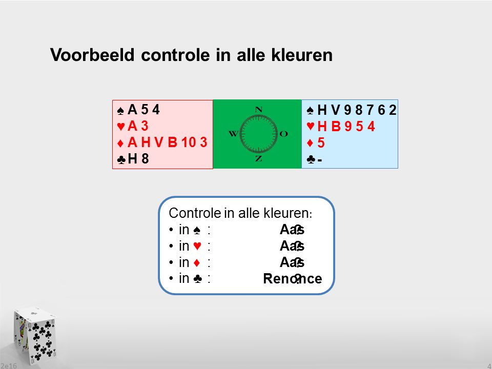 2e16 4 Voorbeeld controle in alle kleuren ♠♥♦♣♠♥♦♣ ♠♥♦♣♠♥♦♣ H V 9 8 7 6 2 H B 9 5 4 5 - A 5 4 A 3 A H V B 10 3 H 8 Controle in alle kleuren : in ♠: in