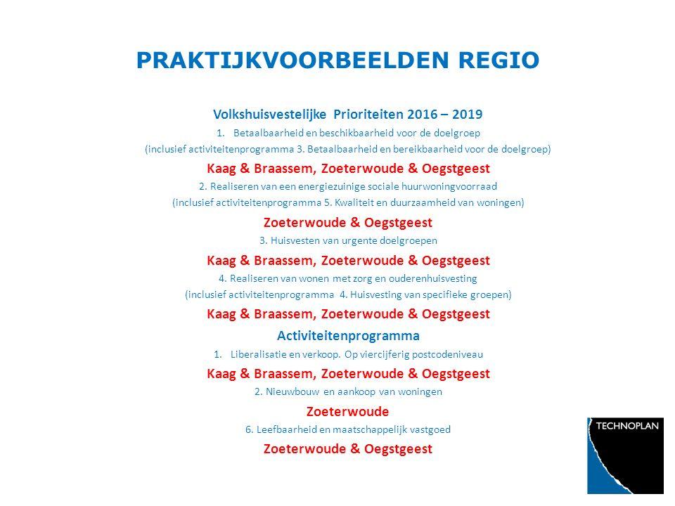 PRAKTIJKVOORBEELDEN REGIO Volkshuisvestelijke Prioriteiten 2016 – 2019 1.Betaalbaarheid en beschikbaarheid voor de doelgroep (inclusief activiteitenpr