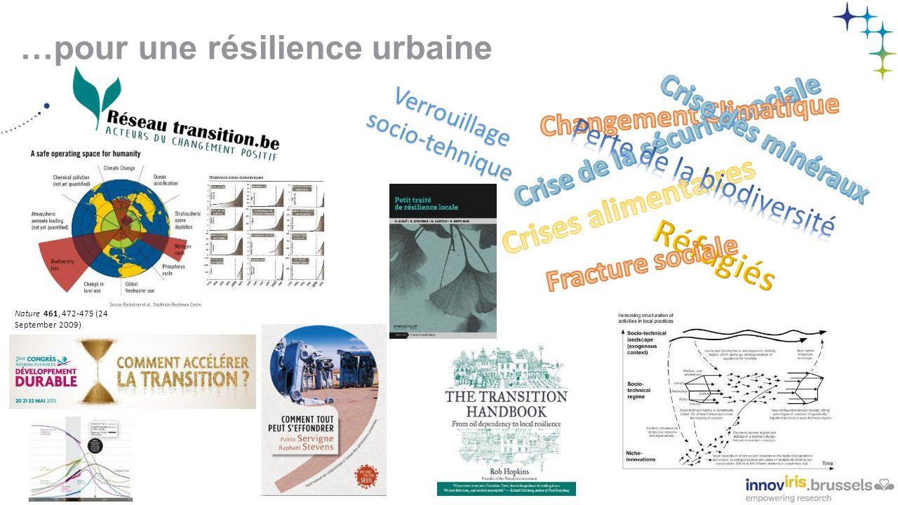 …pour une résilience urbaine Nature 461, 472-475 (24 September 2009) Verrouillage socio-tehnique