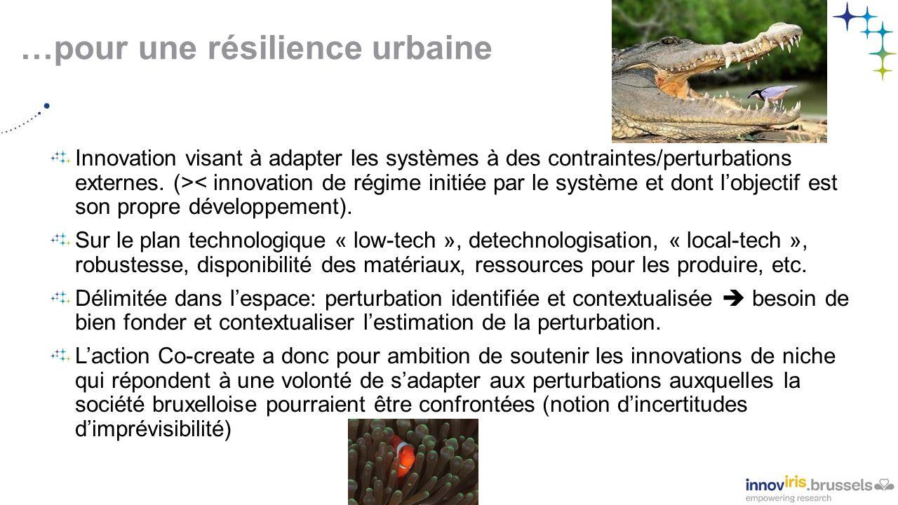 …pour une résilience urbaine Innovation visant à adapter les systèmes à des contraintes/perturbations externes.