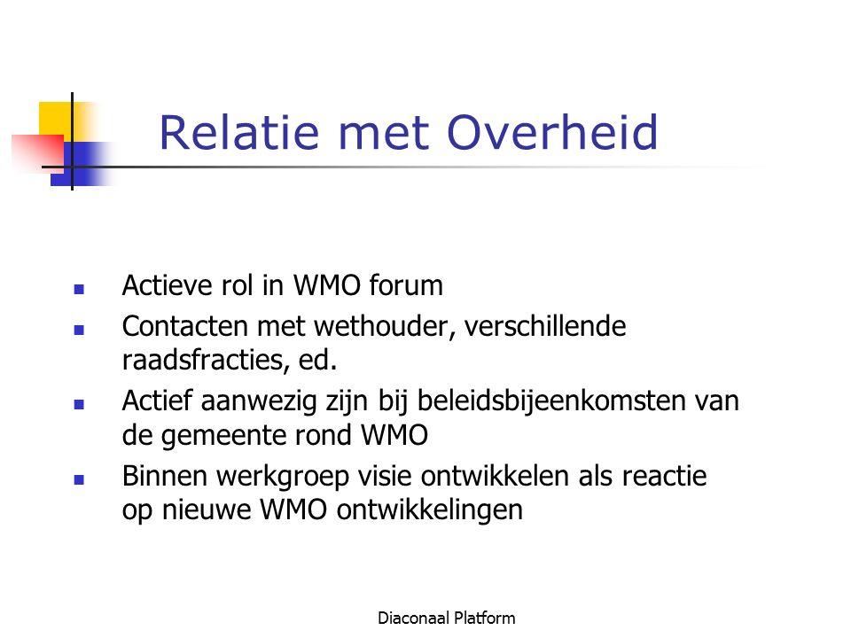 Diaconaal Platform Relatie met Overheid Actieve rol in WMO forum Contacten met wethouder, verschillende raadsfracties, ed. Actief aanwezig zijn bij be