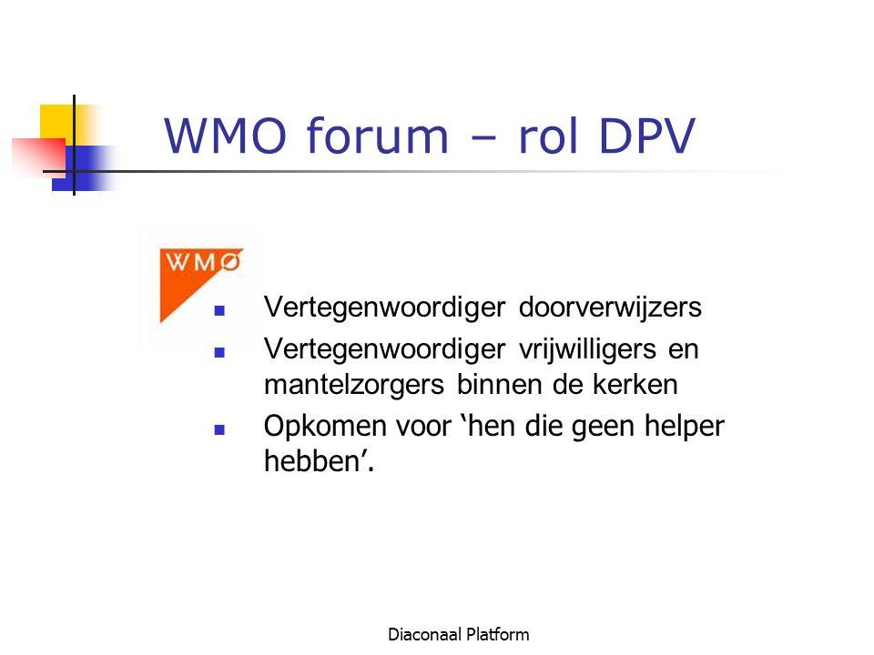 Diaconaal Platform WMO forum – rol DPV Vertegenwoordiger doorverwijzers Vertegenwoordiger vrijwilligers en mantelzorgers binnen de kerken Opkomen voor